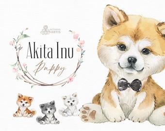 Akita Inu. Watercolor little animal clipart, Japanese Akita, portrait, puppy, doggie, baby, nursery, dog, wreath, cute, pet, sakura