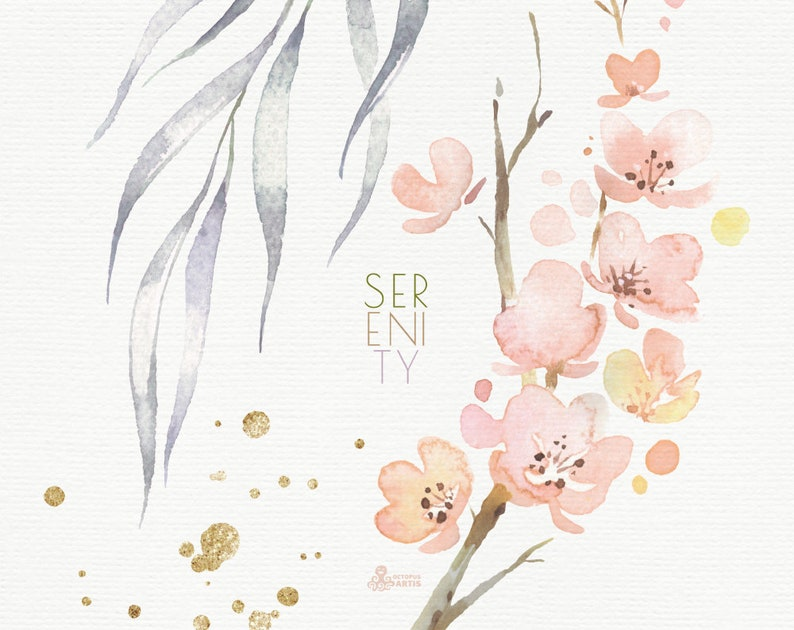 wedding Watercolor hand-painted separate clipart leaves Serenity card dusty green gold leaf flowers splashes 65 Floral Elements
