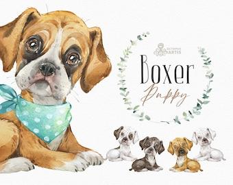 Boxer. Watercolor little animal clipart, German boxer, portrait, puppy, doggie, baby, nursery, dog, wreath, cute, pet