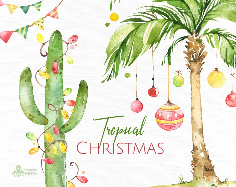 Tropical Christmas.Tropical Christmas Watercolor Holiday Clipart Palms Cactus Pineapple Decor South Xmas Merry Holly Greeting Fun Hot Banting