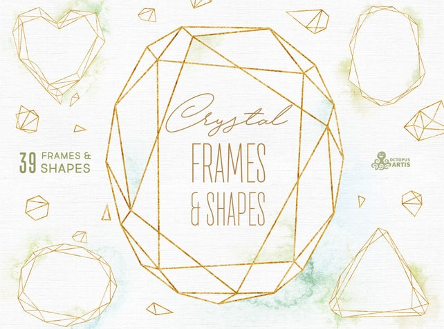 Crystal Frames & Shapes with/without Watercolor Washes | Etsy