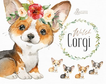 Welsh Corgi. Watercolor little animal clipart, portrait, puppy, doggie, baby, flowers, nursery, wreath, bowtie, pup, floral crown, royal