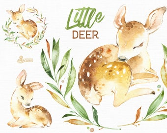 Little Deer. Watercolor animal clipart, floral wreath, roe, fawn, forest, card, leaves, country, nursery art, nature, realistic, wild,