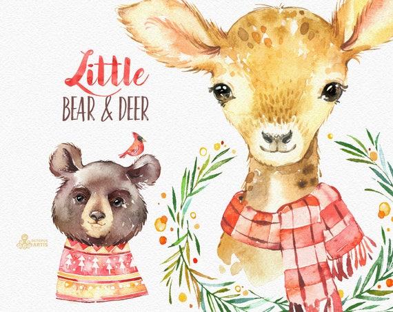 little bear deer watercolor holiday clipart winter roe. Black Bedroom Furniture Sets. Home Design Ideas