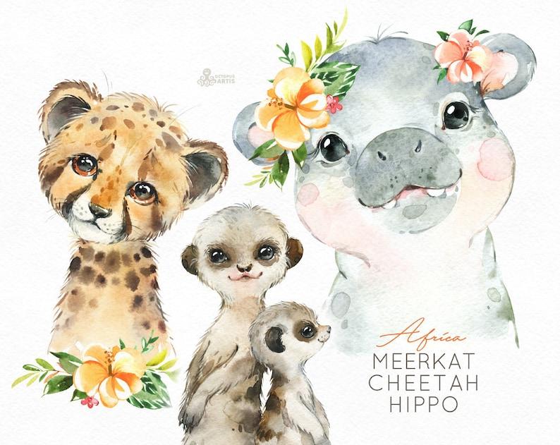 Afrika Hippo Cheetah Meerkat aquarel kleine dieren clipart image 0