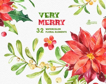 Very Merry. Holiday Elements. Watercolor clipart, floral, christmas, holly, mistletoe, bow, decorations, greeting, diy, red, green, flowers