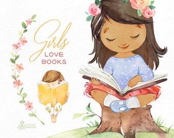 Girls Love Books Watercolor clipart, reading, flowers, outdoor, florals, back to school, cute little girl, kids, nursery, bunny, little lady