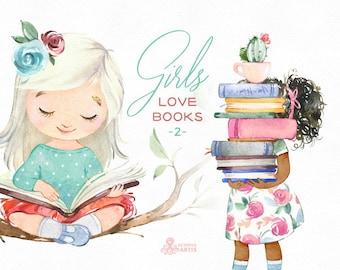 Girls Love Books 2 Watercolor clipart, reading, flowers, outdoor florals, back to school, cute little girl, kids nursery, bunny, little lady