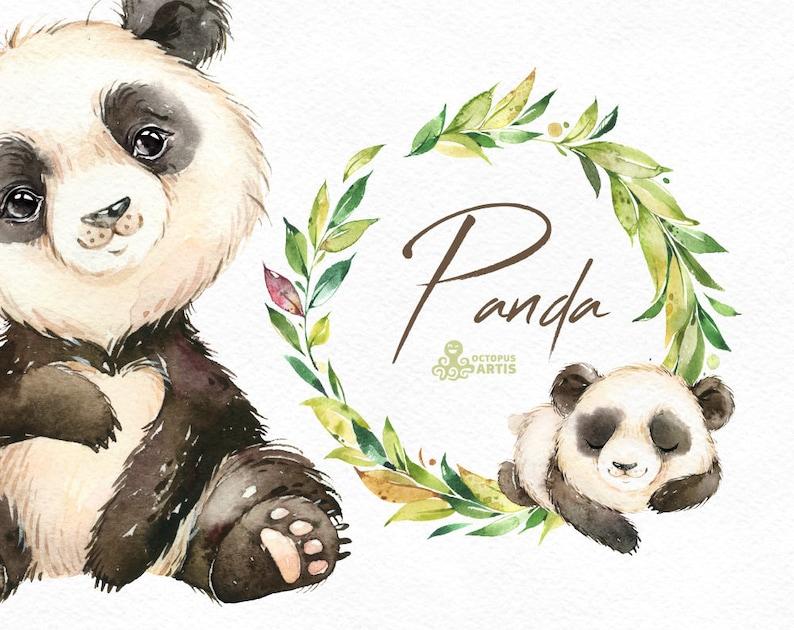 Panda. Aquarel weinig dierlijke clipart Floral krans bos image 0