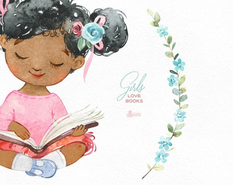cute little girl reading Girls Love Books 2 Watercolor clipart back to school little lady outdoor florals flowers bunny kids nursery