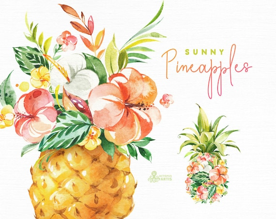 Sunny Pineapples Watercolor Floral Clipart Vase Flowers Etsy