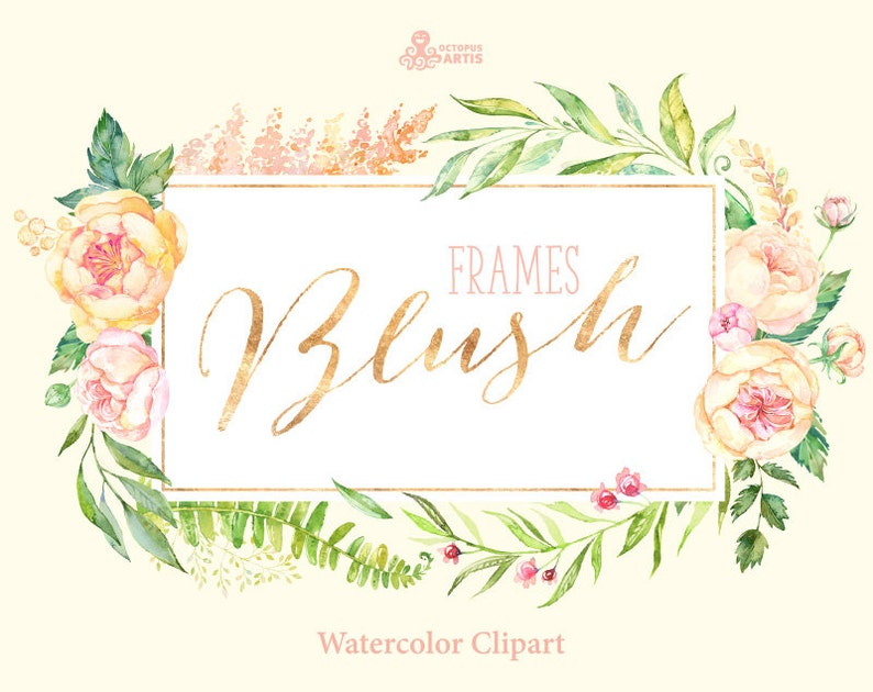 Blush 7 Watercolor Frames Peach Cream Pink Bridal Flowers Clipart Peony Wedding Invitation Greeting Sign Floral Spring Shower