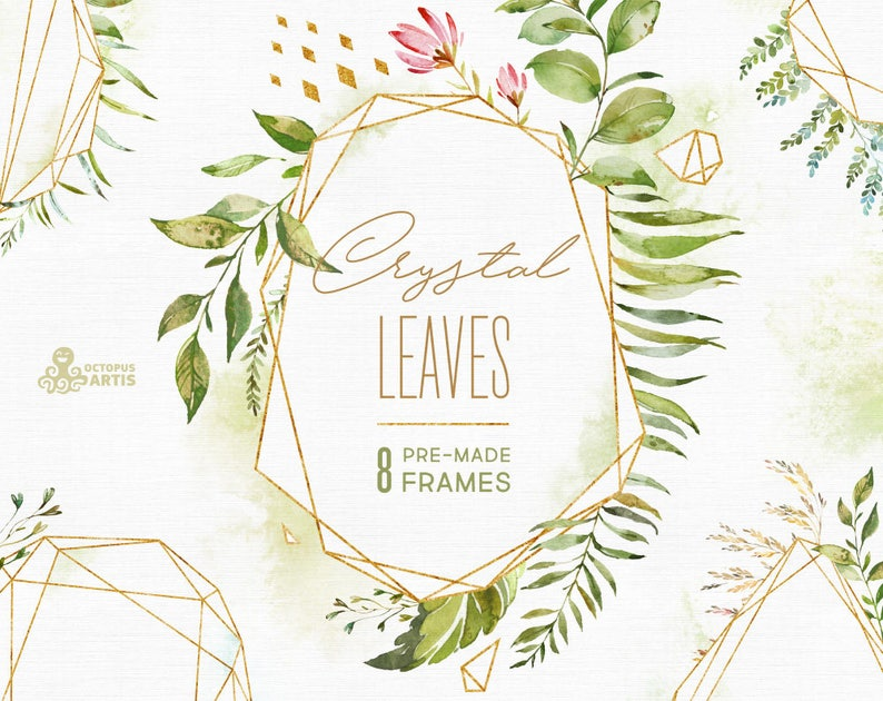 24d768729957 Crystal Leaves. Frames. Watercolor floral   polygonal pre-made