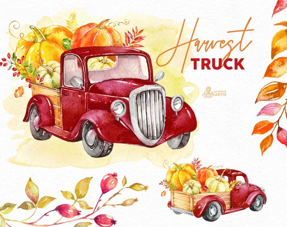 Harvest Truck. Watercolor autumn clipart pumpkins car | Etsy