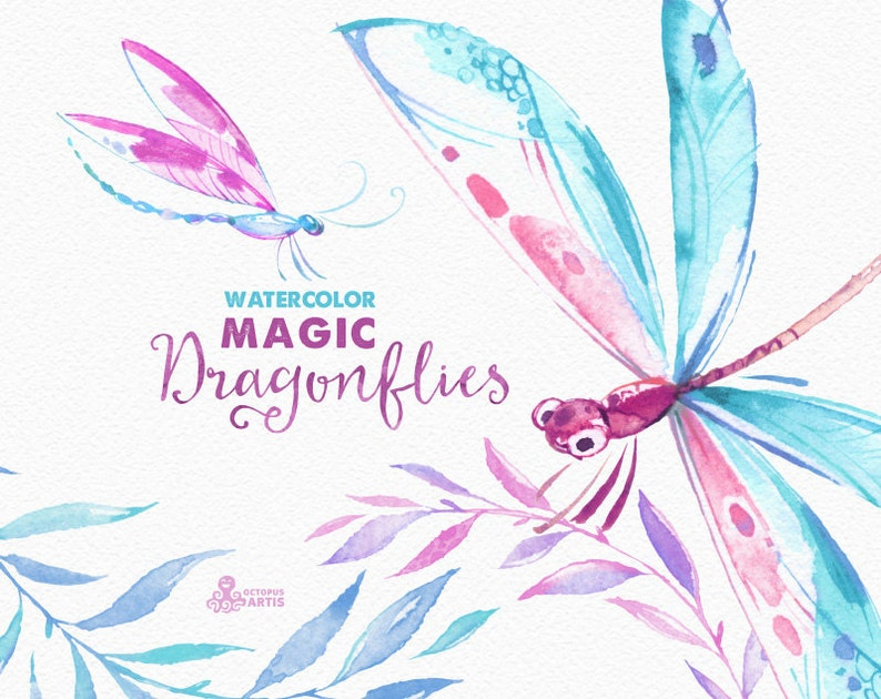 036fa9889 Magic Dragonflies. Watercolor hand painted clipart wreaths