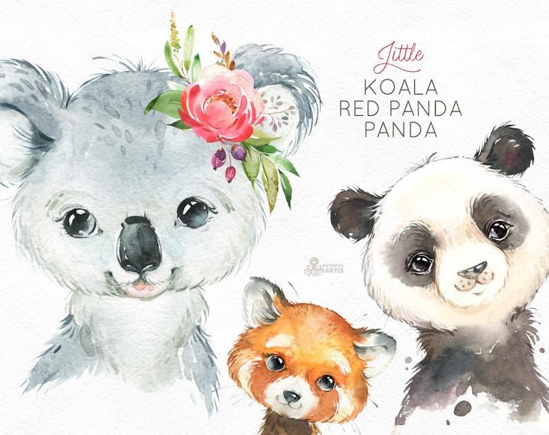 Little Koala Red Panda Panda Watercolor Animals Clipart Etsy