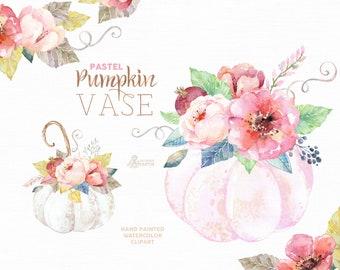 Pumpkin Vase Pastel. Watercolor clipart, harvest, floral arrangement, bouquet, wreath, autumn, pink, white, halloween, flowers, gentle, teal