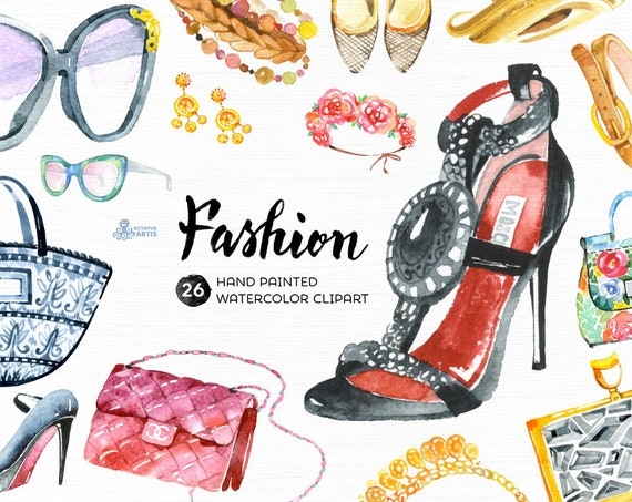 Fashion Watercolor Clipart 30 Hand Painted Elements Shoes Etsy