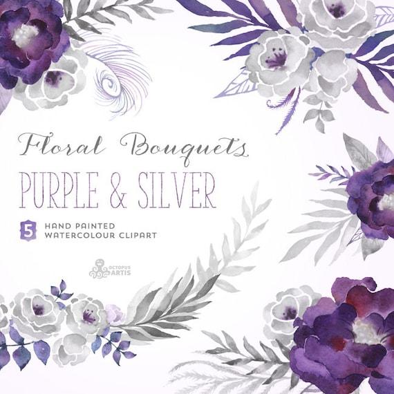 Purple & Silver Floral Bouquets. Digital Clipart. Hand   Etsy