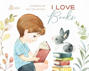 I Love Books. Watercolor boy clipart, rabbit, reading, outdoor, nature, florals, friends, male, little boy, kids, nursery, cute, pet, bunny