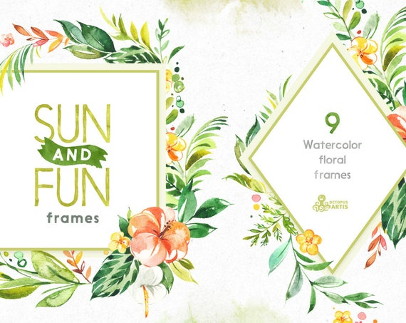 Sun&Fun. 9 Frames. Watercolor summer florals clipart pre-made | Etsy