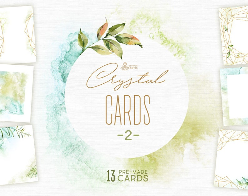 b4ed23fededf Crystal 2. Cards and Templates. Watercolor floral polygonal