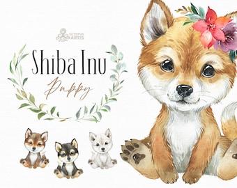 Shiba Inu. Watercolor little animal clipart, portrait, puppy, doggie, baby, flowers, nursery, dog, wreath, bowtie, cute, pet, Shiba Ken