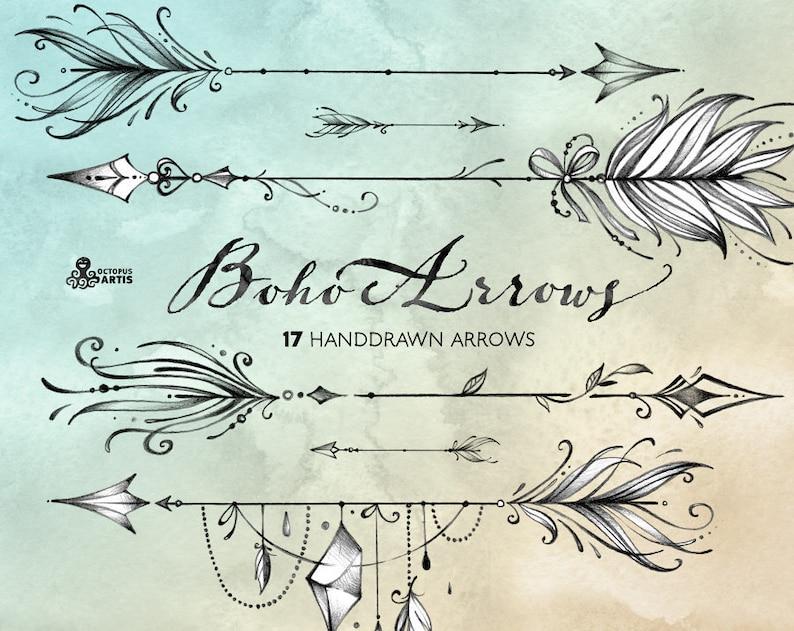 828a29cd79e Boho Arrows. 17 hand drawn Clipart. Tribal native diy