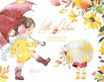 Little Autumn. Watercolor clipart, cute girl, Fall, flowers, outdoor, walk, umbrella, kids, nursery, sunflower, leaves, leaf, rain, bright