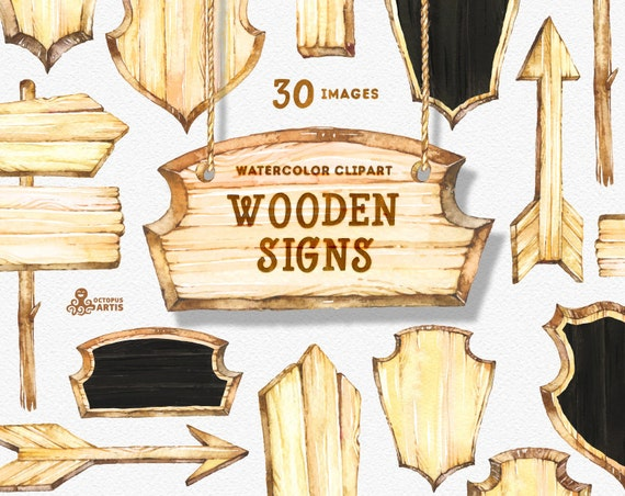 Wooden Signs Watercolor Clipart Wood Planks Signboards Etsy