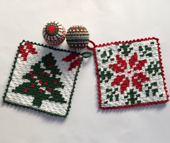 2 C2C crochet pattern Christmas potholder with Tree or Star by Atelier Sopra