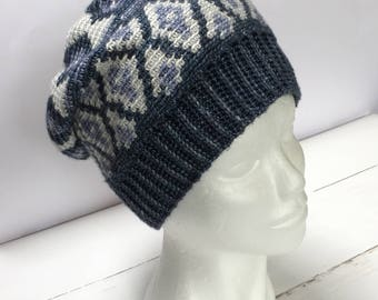 Tapestry crochet pattern Beanie 'Ice' by Atelier Sopra