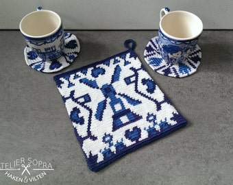 Tapestry Crochet Potholder Pattern Delft blue