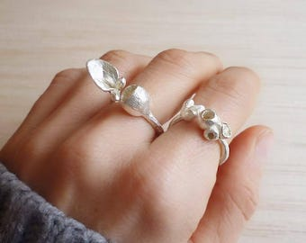 Sterling Silver Botanical Ring - Adjustable Sterling silver Rings with Pods or Leaves