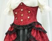Steampunk Boho Pirate Wench Red Corset Bodice Waist Cincher, Under Bust Waspie, Sexy Burlesque Neo Victorian Corset,Handmade,LARP, Ren Faire
