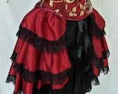 Red Bustle Skirt, Sexy Boudoir Cosplay Lolita Burlesque, Tribal Bellydance Fairy Fae, Victorian Steampunk Ren Faire,Pirate Wench LARP Gothic