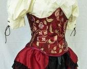 Steampunk Boho Pirate Wench Corset Bodice Waist Cincher, Under Bust Waspie, Sexy Burlesque Neo Victorian Corset, Handmade, LARP, Ren Faire