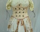 Steampunk Boho Pirate Wench Corset & Bustle, Wedding Bridal Skirt Bodice Under Bust Waist Cincher, Burlesque Cosplay Lolita, Fairy Victorian