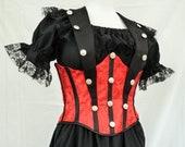 Red & Black Steampunk Pirate Wench Corset Bodice Waist Cincher, Under Bust Waspie, Sexy Burlesque Neo Victorian Corset, LARP, Ren Faire