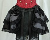 Black satin Bustle Skirt,Sexy Boudoir,Cosplay,Lolita,Burlesque,Tribal, Fairy Fae,Victorian Steampunk Ren Faire,Pirate Wench LARP Gothic
