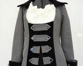 Ladies Grey Pirate Wench Frock Coat Jacket, Pirate Costume, Gothic, Ren Faire,Steampunk,Theatrical Stage,Ladies Smart Office Business Jacket
