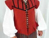 Red Medieval Tudor Style Tunic Waistcoat Gillet,LARP Stage Theatre Reenactment Pirate Civil War Vest,Groomsman Men's Pagan Wedding Waistcoat