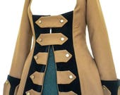 Ladies Pirate Wench Frock Coat Jacket, Jack Sparrow,Captain Hook,Pirate Costume,Gothic,Ren Faire,Steampunk Reenactment LARP,Theatrical Stage