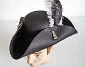 Unisex Black Pirate Tricorn Hat, Jack Sparrow Fantasy Captain Hook Hat, Steampunk Gothic Town Crier Hat, Pirate Wench Hat, LARP, Ren Faire