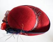 Ladies Red Maroon Hat, 1920's 1930s Cloche Bucket Flapper 1940's Hat, Sun Hat, Cosplay Charleston, Steampunk, Wedding Smart Fancy Hat
