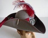 Unisex Grey Pirate Tricorn Hat, Jack Sparrow Fantasy Captain Hook Hat, Steampunk Gothic Town Crier Hat, Pirate Wench Hat, LARP, Ren Faire