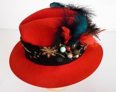 Ladies Red Hat, 1920's Hat, Wide Brim Fedora Sun Hat, Cosplay, Steampunk Hat, Wedding Smart Fancy Hat,Stingy Brim Hat,Decorated Hat Feathers