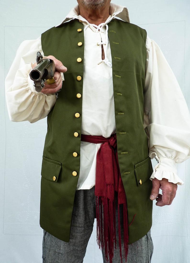 Mens Green Waistcoat Pirate Vest Groomsman Wedding Civil War image 0