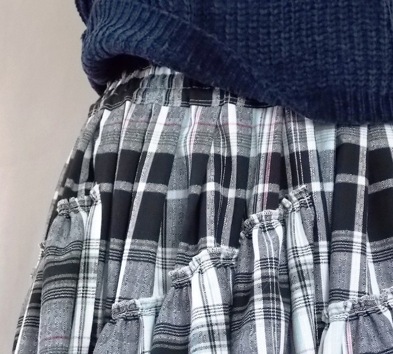 76b518264 Black maxi skirt Long skirt for women Tartan skirt Plaid skirt | Etsy