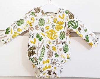 Baby girl bodysuit, baby boy bodysuit, organic baby clothes, newborn clothes, baby shower gift, baby boy clothes, baby girl clothes, Nature